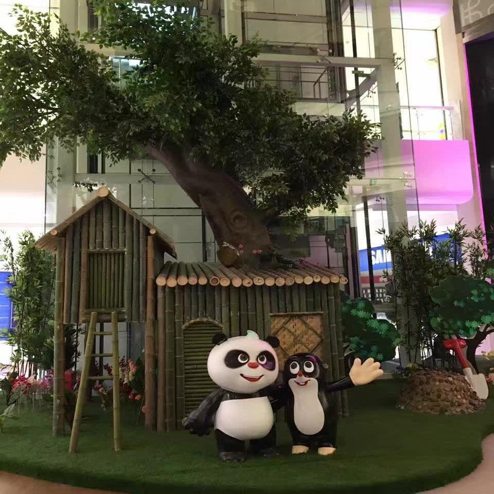 熊猫和鼹鼠主题展 玻璃钢 美陈